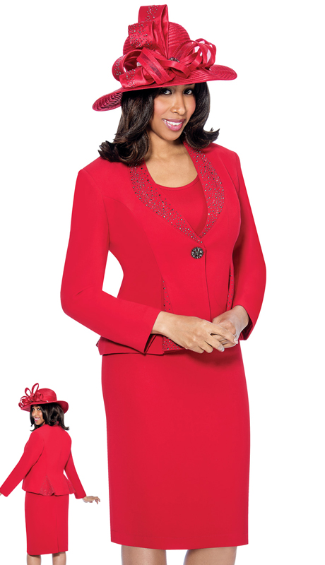 GMI 6353-RE-IH ( 3pc Renova With Rhinestones And Cami Suit For Church )