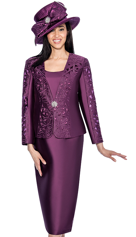 GMI 6413-PUR-IH ( 3pc Silk Look Embroided Laser Cut  Design With Rhinestone Closure Womens Suit )