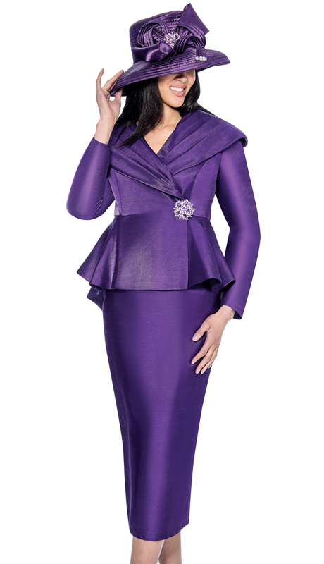 GMI 6512-PUR-IH ( 2pc Shimmer Shantung With Rhinestone Button Ladies Suit )