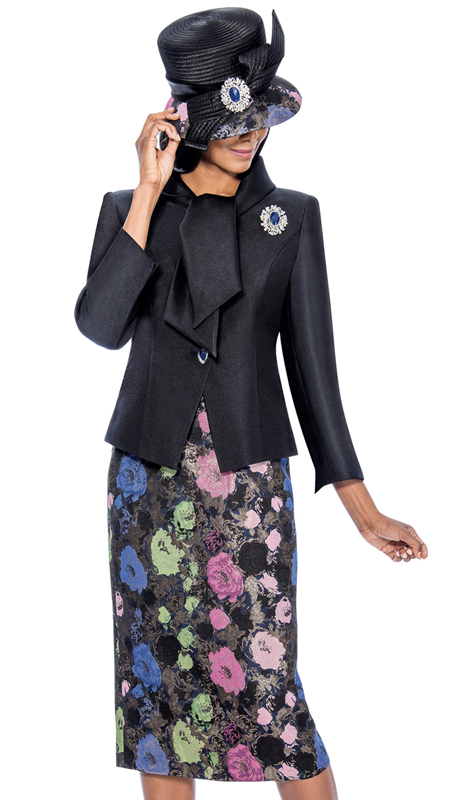 GMI 6542-BLK ( 2pc Silk Look With Wrap Collar And Multi Color Floral Jacquard Metallic Straight Skirt Suit For Ladies )
