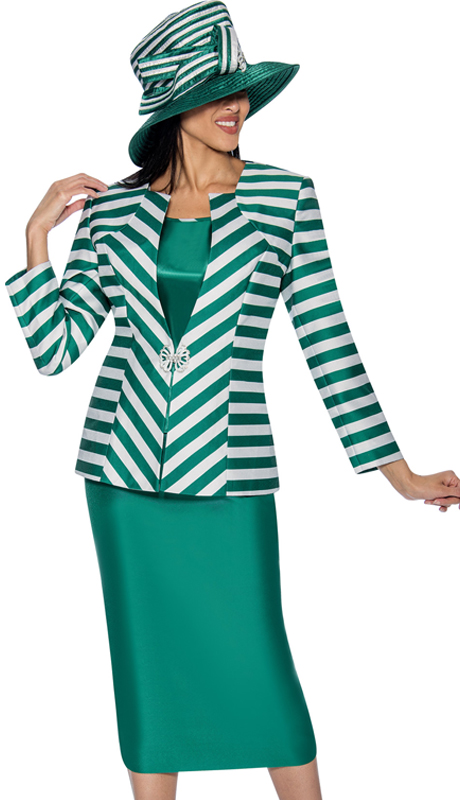 GMI 6563-G ( 3pc  Silk Look Skirt Suit With A Striped  Jacket )