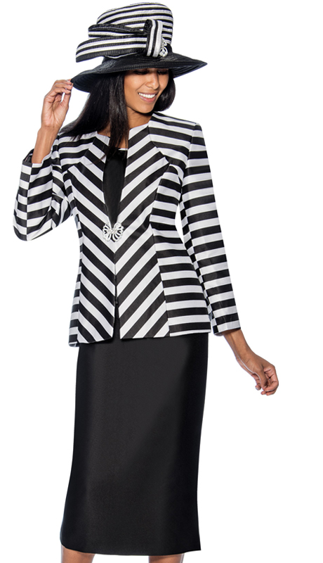 GMI 6563-BW ( 3pc  Silk Look Suit For Church With A Striped Jacket )