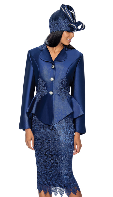 GMI 6592-N ( 2pc  Shimmer Shantung  With Lace Accented First Ladys Church Suit With Peplum Jacket )