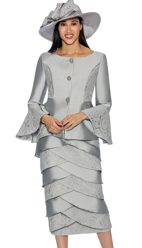 GMI 6602-S ( 2pc Silk With Lace Layered Skirt Suit With A Bell Cuff Jacket )