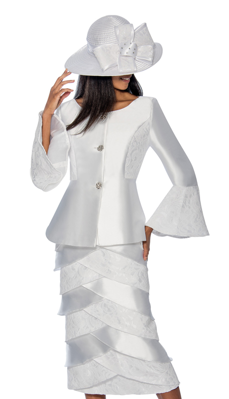 GMI 6602-W ( 2pc  Silk With Lace Layered Womens Sunday Suit With A Bell Cuff Jacket )