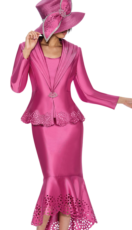 GMI 6643-P ( 3pc Silk Look Laser Cutout Flounce Hem Skirt Suit With A Wide Shawl Lapel )