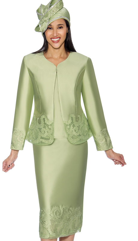 GMI 6823-G ( 3pc Silk Look Ladys  Jacket And Skirt Suit With Embroidered Accents )