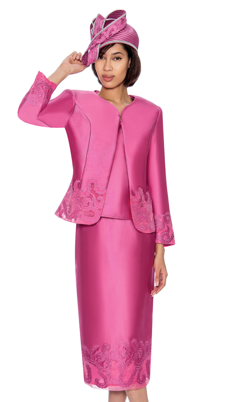 GMI 6823-P ( 3pc Silk Look Ladys Jacket And Skirt Suit For Church With Embroidered Accents )