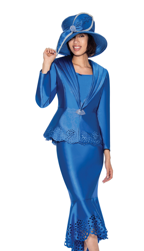 GMI 6643-R ( 3pc  Silk Look Laser Cutout Flounce Hem First Ladys Church Suit  With A Wide Shawl Lapel  )
