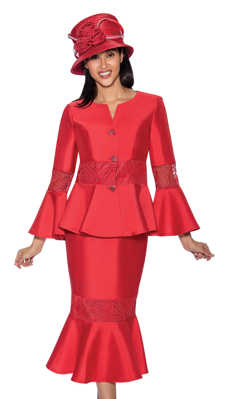 GMI 6732-R ( 2pc Silk Look Flounce Hem Ladys Church Suit With Peplum Jacket And Bell Cuff Sleeves With Organza )
