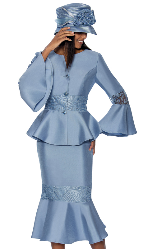 GMI 6732-B  ( 2pc Silk Look Flounce Hem Womens Suit With Peplum Jacket And Bell Cuff Sleeves With Organza )