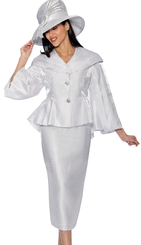 GMI 6792-W  ( 2pc Shimmer Shantung Skirt Suit With Peplum Jacket And Over The Shoulder Collar )