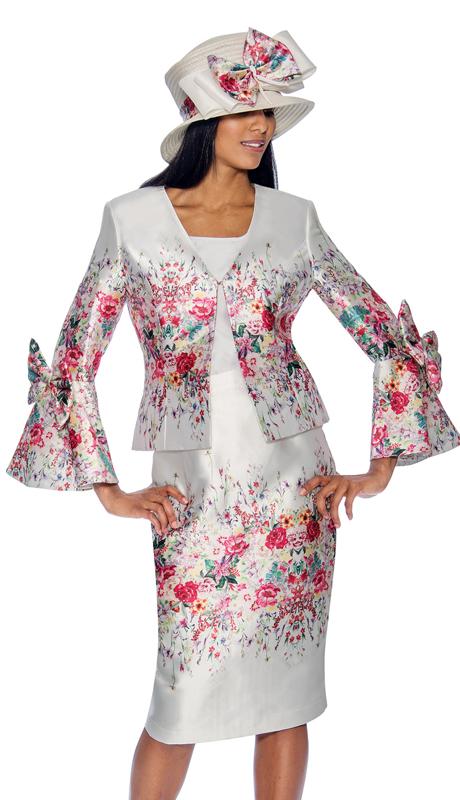 GMI 6803 ( 3pc Multi Color Silk Look  Church Suit With Multi Print )