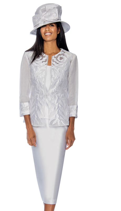 GMI 6813-W ( 3pc Womens Silk Look With Novelty Suit For Church With Brocade & Mesh Adorned Jacket )
