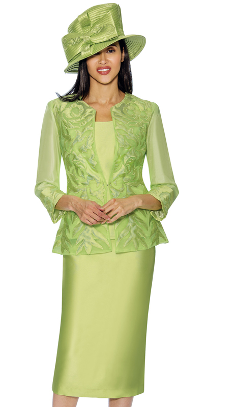 GMI 6813-G  ( 3 Pc Womens Silk Look With Novelty Skirt Suit With Brocade And Mesh Adorned Jacket )