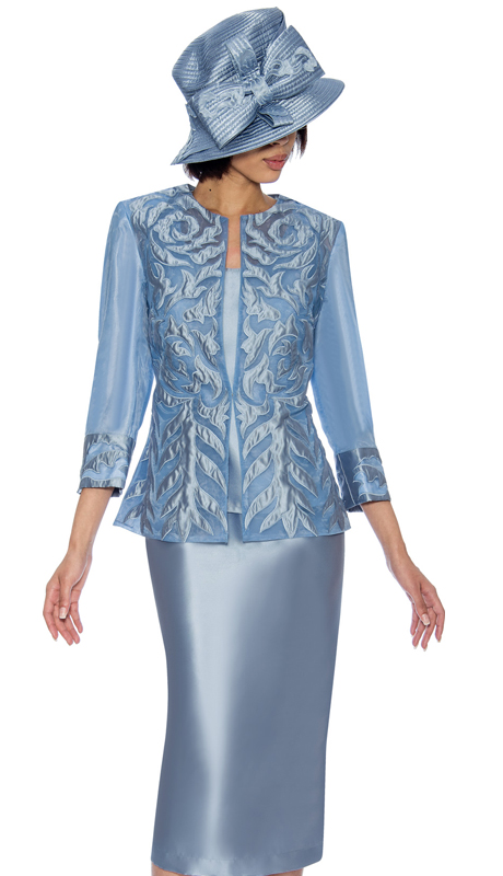 GMI 6813-B ( 3pc Silk Look With Novelty Ladys Suit With Brocade And Mesh Adorned Jacket  )