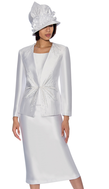 GMI 6653-W ( 3pc Flared Silk Look  Church Suit  With Embellished Jacket )
