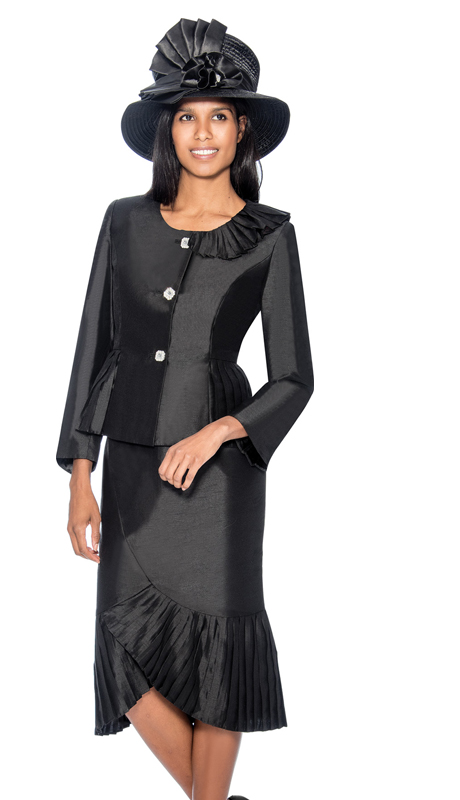GMI 6692-B ( 2pc Ruffled Flounce Hem Shantung Sunday Church Suit With Peplum Jacket )