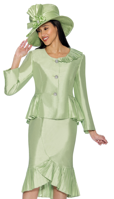 GMI 6692-G ( 2pc Ruffled Flounce Hem Shantung Skirt Suit For Church With Peplum Jacket )