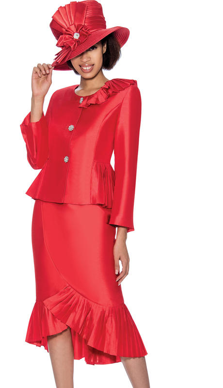 GMI 6692-R ( 2pc Ruffled Flounce Hem Shantung Sunday Church Suit With Peplum Jacket )