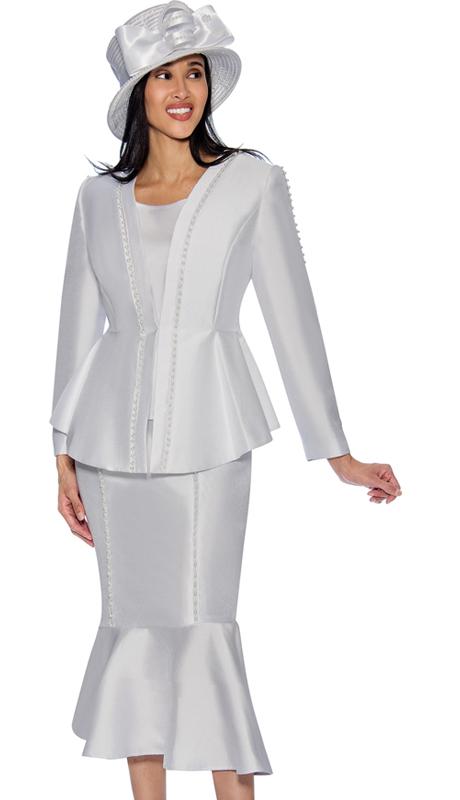 GMI 6723-W ( 2pc Silk Look Flounce Hem Skirt Suit With Embellished Peplum Jacket )