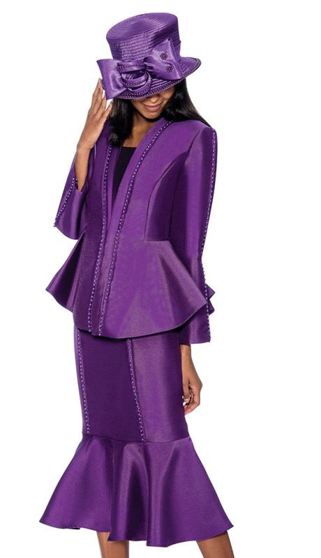 GMI 6723-P ( 3pc Silk Look Flounce Hem Skirt Suit With Embellished Peplum Jacket Sunday Church Suit )