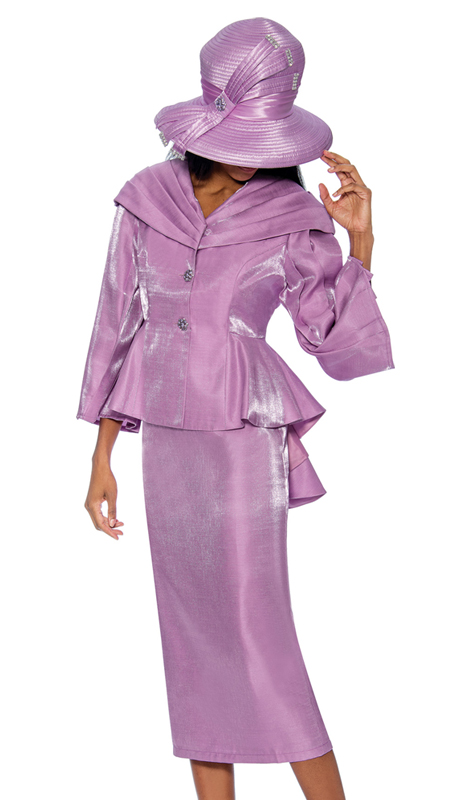 GMI 6792-L ( 2pc Shimmer Shantung First Ladys Suit With Peplum Jacket And Over The Shoulder Collar )