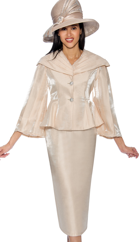 GMI 6792-C ( 2pc Shimmer Shantung Sunday Church Suit With Peplum Jacket And Over The Shoulder Collar )