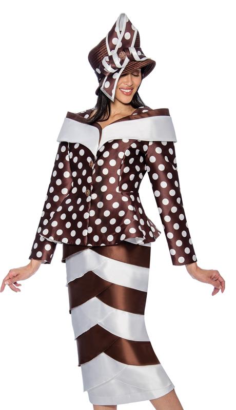 GMI 6782-BW ( 2 Pc Layered Tulip Womens Sunday Suit With Polka Dot Peplum Jacket )