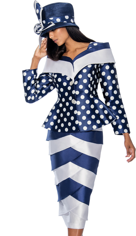 GMI 6782-NW ( 2pc Layered Tulip Suit For Church With Polka Dot Peplum Jacket )