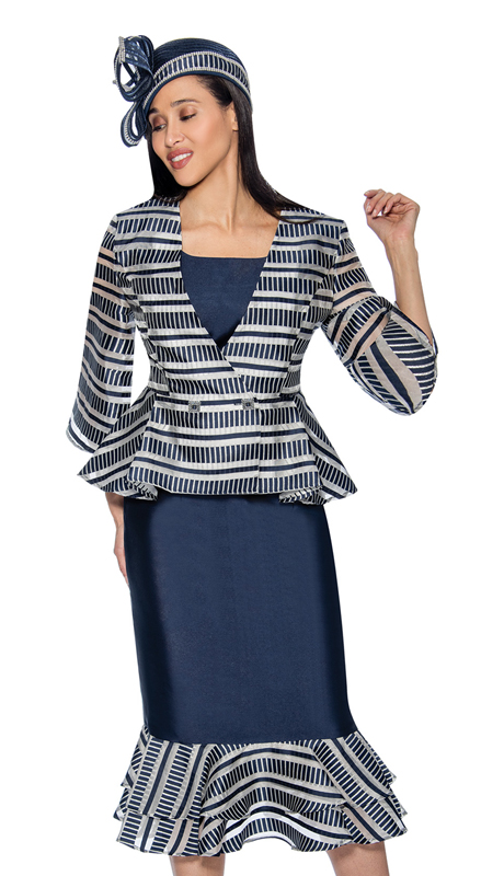 GMI 6833-N ( 3pc Silk Look Womens Layered Flounce Skirt Suit With Striped Peplum Jacket )