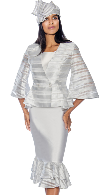 GMI 6833-W ( 3pc Womens Layered Flounce Suit For Church With Striped Peplum Jacket )