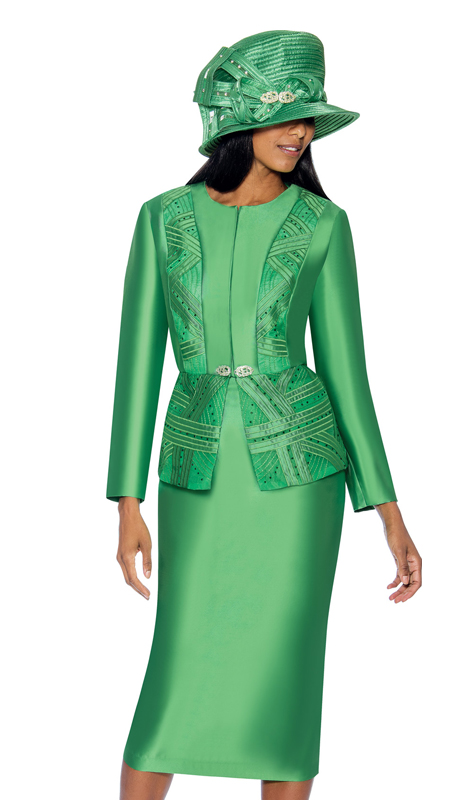 GMI 6842-G ( 2pc Silk Look Ladys Church Suit With Pattern Accented Jacket )