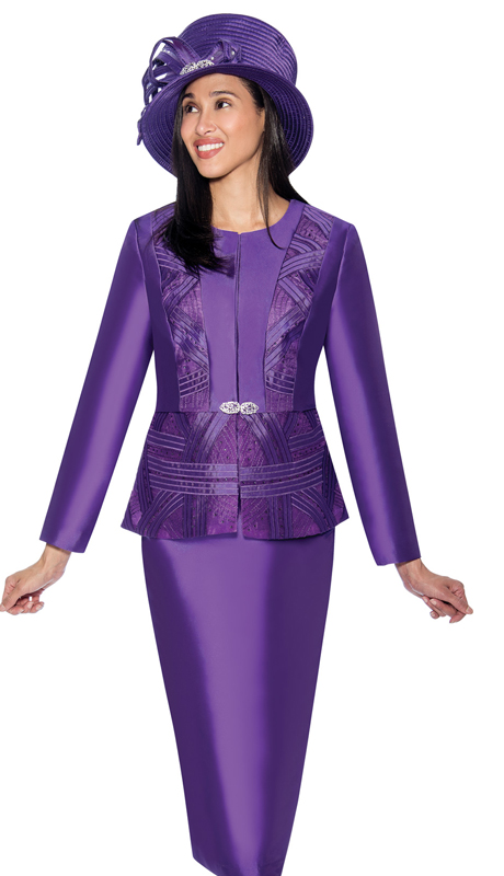 GMI 6842-P ( 2pc Silk Look Womens Sunday Suit With Pattern Accented Jacket )