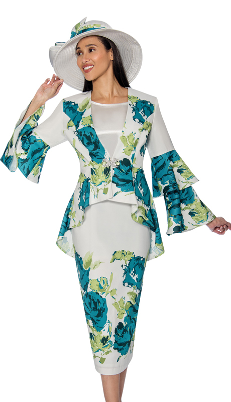 GMI 6853 ( 2pc  Silk Look Floral Print Skirt Suit For Church With Layered Bell Sleeve Peplum Jacket )
