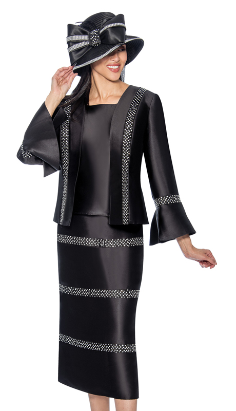 GMI 6863-BLK ( 3pc Silk Look Embellished Sunday Church Suit With A Bell Sleeve Cuff Jacket )