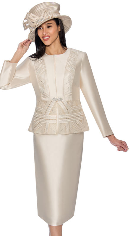 GMI 6842-CH ( 2pc Silk Look Womens Skirt Suit With Pattern Accented Jacket )