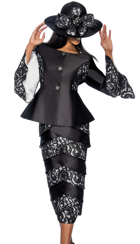 GMI 6602-BW ( 2pc Silk With Lace Layered First Lady Church Suit With A Bell Cuff Jacket )
