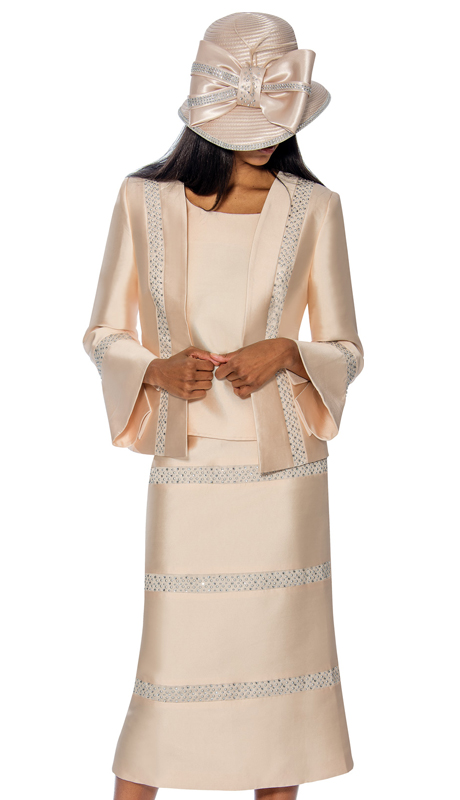 GMI 6863-CH ( 3pc Silk Look Embellished Sunday Church Suit With A Bell Sleeve Cuff Jacket )