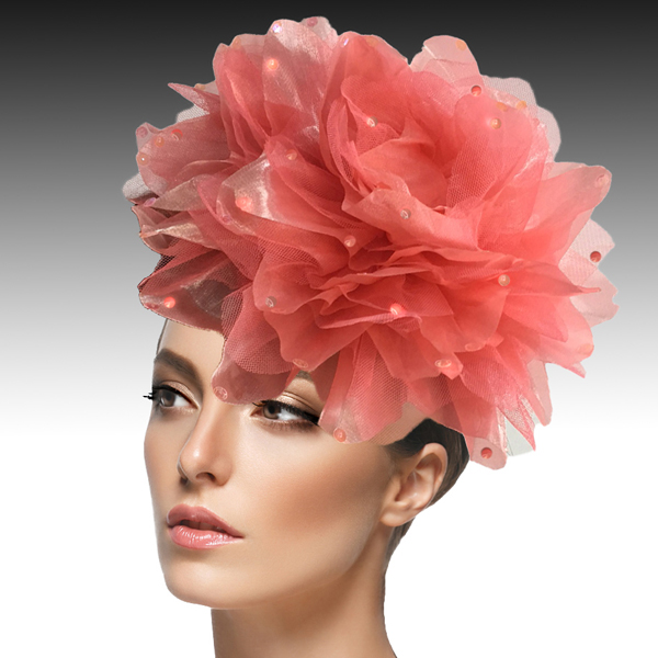 FA1705- IAN FASCINATOR-C ( Headband fascinator with oversized shimmer organza and tulle flower )