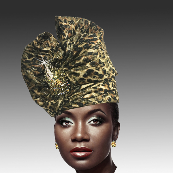 2518 ABABA-LE ( Exotic Draped Turban with Jewel Brooch )