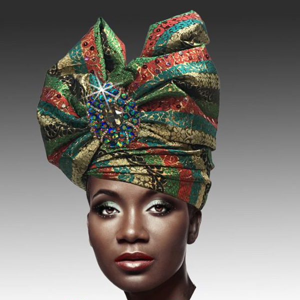 2518 ABABA-MS ( Exotic Draped Turban with Jewel Brooch )