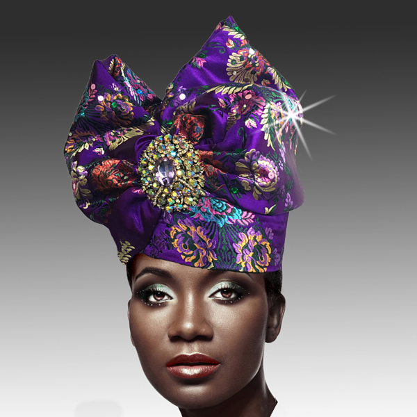 2518 ABABA-PM ( Exotic Draped Turban with Jewel Brooch )