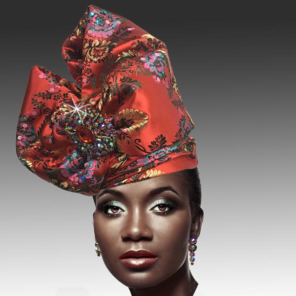 2518 ABABA-RM ( Exotic Draped Turban with Jewel Brooch )