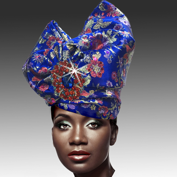 2518 ABABA-BLM ( Exotic Draped Turban with Jewel Brooch )
