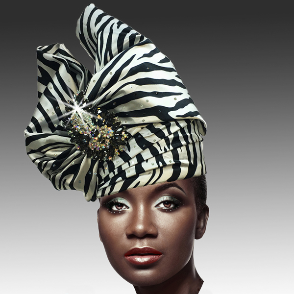 2518 ABABA-Z ( Exotic Draped Turban with Jewel Brooch )