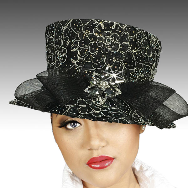 2519 MASON-BLK ( Embroidered and Jewel Lace Bucket )