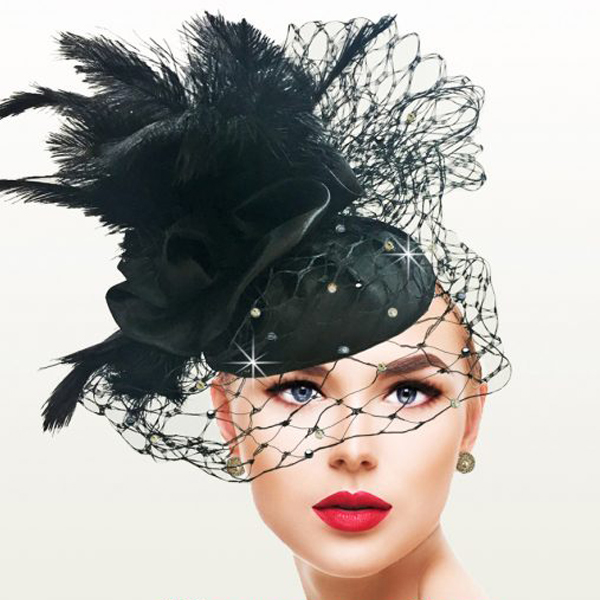 FA2521 FANTASIA ( Ostrich Bouquet Veiled Fascinator )