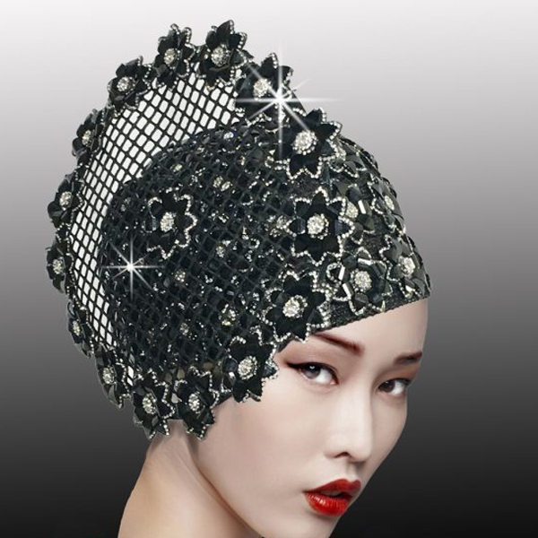 2525 ALABASTER-BLK ( Mosaic Inspired Crystal And Stone Bubble Cap )