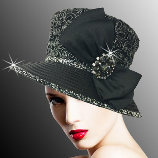 2526 SUSSEX-BLK ( Embroidered and Beaded Bucket Hat With Profile Bow )